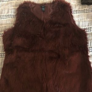 Rue 21+ Burgundy Fur Vest